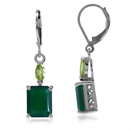 6.38ct. Natural Octagon Shape Emerald Green Agate & Peridot 925 Sterling Silver Leverback Earrings