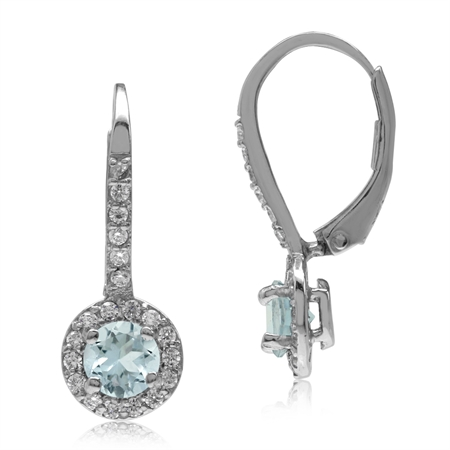 5MM Genuine Blue Aquamarine & White CZ Gold Plated 925 Sterling Silver Halo Leverback Earrings