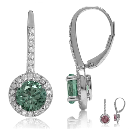 7MM Round Shape Simulated Color Change Alexandrite 925 Sterling Silver Halo Leverback Earrings