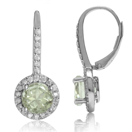 2.48ct. 7MM Natural Round Shape Green Amethyst 925 Sterling Silver Halo Leverback Earrings