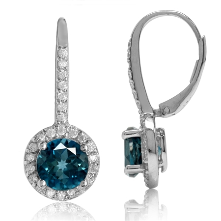 3.2ct. 7MM Genuine Round Shape London Blue Topaz 925 Sterling Silver Halo Leverback Earrings
