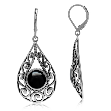Created Black Onyx 925 Sterling Silver Filigree Swirl & Spiral Drop Shape Leverback Earrings