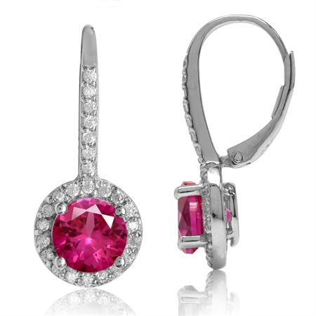 7MM Round Shape Simulated Red Ruby & White CZ 925 Sterling Silver Halo Leverback Earrings