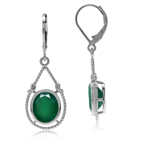 4.64ct Oval Natural Emerald Green Agate 925 Sterling Silver Rope Knot Drop Dangle Leverback Earrings