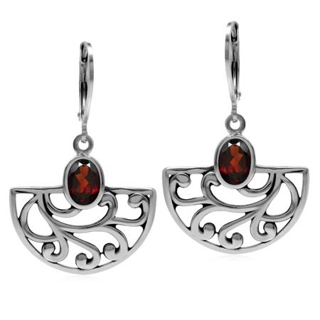 2ct. Natural Garnet 925 Sterling Silver Filigree Swirl&Spiral Semi Circle Leverback Dangle Earrings