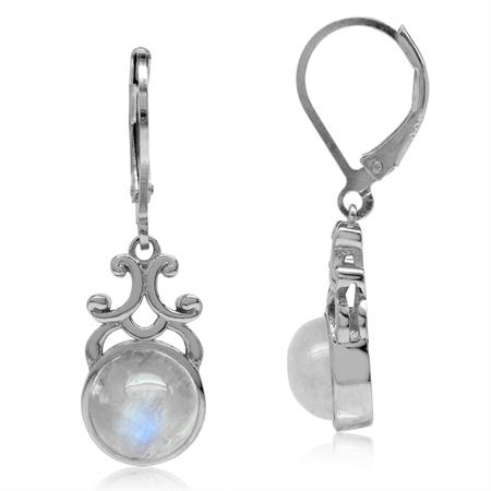 8MM Natural Round Shape Moonstone 925 Sterling Silver Filigree Swirl Leverback Dangle Earrings