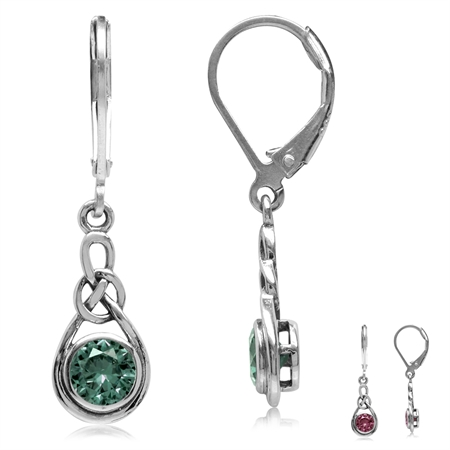 Simulated Alexandrite 925 Sterling Silver Celtic Knot Leverback Dangle Earrings