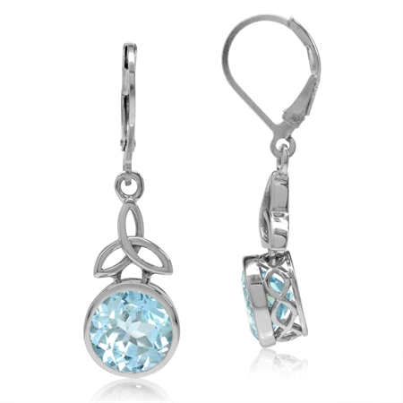 6.42ct. 9MM Genuine Blue Topaz 925 Sterling Silver Triquetra Celtic Knot Leverback Dangle Earrings