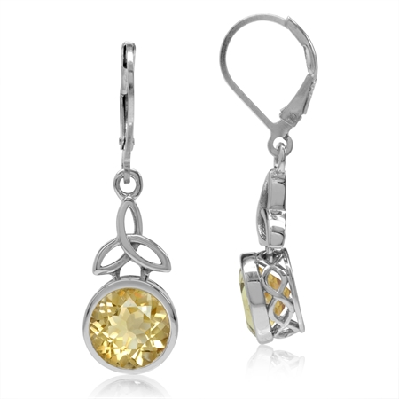 4.86ct. 9MM Natural Round Shape Citrine 925 Sterling Silver Triquetra Celtic Knot Leverback Earrings