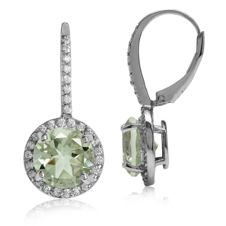 4.28ct. 9MM Natural Round Shape Green Amethyst 925 Sterling Silver Halo Leverback Earrings