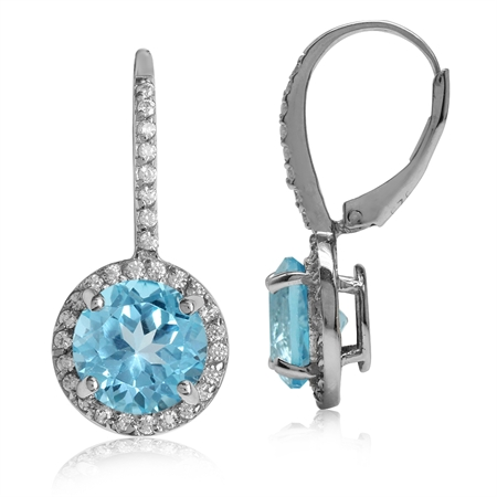 6.72ct. 9MM Genuine Round Shape Swiss Blue Topaz 925 Sterling Silver Halo Leverback Earrings