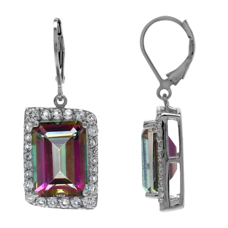 HUGE 16.84ct. Mystic Fire Topaz White Gold Plated 925 Sterling Silver Leverback Dangle Earrings
