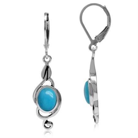Genuine Oval Shape Arizona Turquoise 925 Sterling Silver Swirl Drop Dangle Leverback Earrings