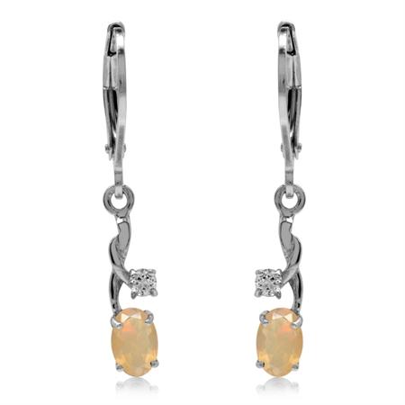 Genuine Opal & White Topaz Gold Plated 925 Sterling Silver Leverback Dangle Earrings