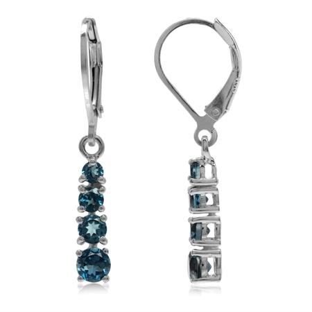 1.56ct. Genuine London Blue Topaz 925 Sterling Silver Leverback Dangle Earrings