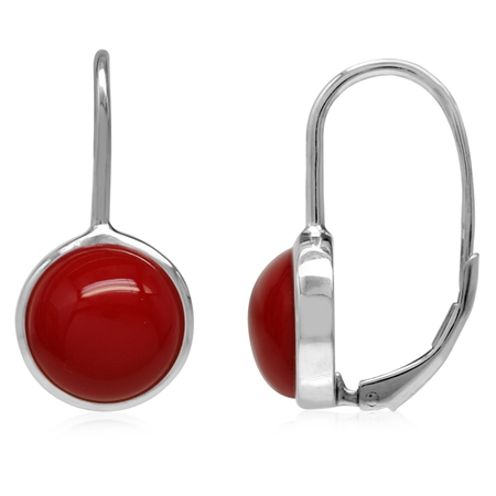 10MM Created Red Coral White Gold Plated 925 Sterling Silver Leverback Earrings