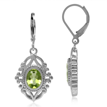 2.88ct. Natural Oval Shape Peridot 925 Sterling Silver Baroque Inspired Leverback Dangle Earrings