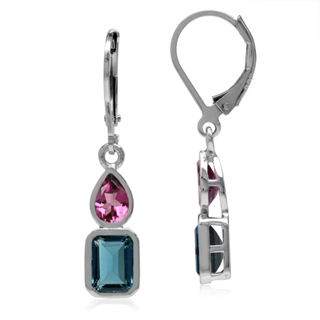 Genuine London Blue Topaz & Pink Tourmaline 925 Sterling Silver Leverback Dangle Earrings