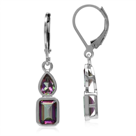 3.32ct. Mystic Fire Topaz White Gold Plated 925 Sterling Silver Leverback Dangle Earrings