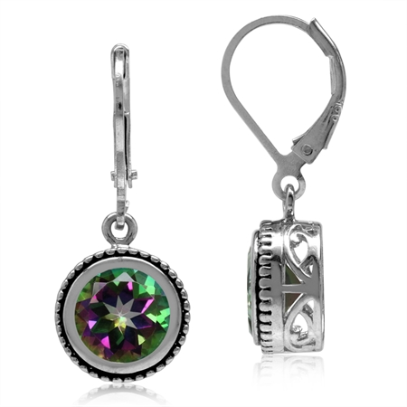 4.44ct. 8MM Round Mystic Fire Topaz 925 Sterling Silver Filigree Balinese Style Leverback Earrings
