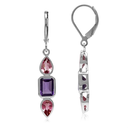 1.92ct. Natural Amethyst & Pink Tourmaline 925 Sterling Silver Leverback Dangle Earrings
