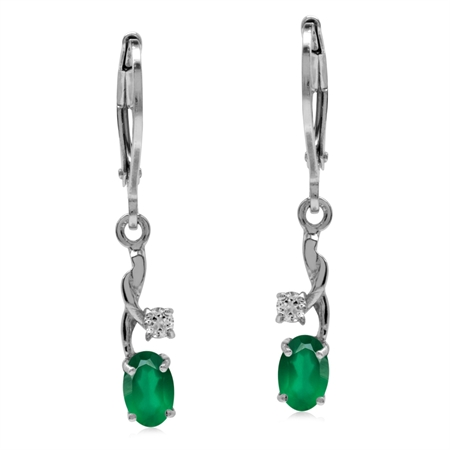 Natural Emerald Green Agate & White CZ Gold Plated 925 Sterling Silver Leverback Dangle Earrings
