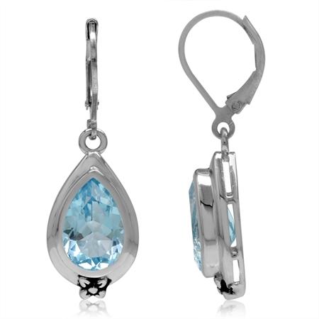 6.84ct. 12x8MM Genuine Pear Shape Blue Topaz 925 Sterling Silver Flower Drop Leverback Earrings