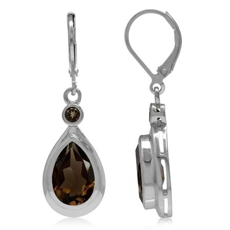 5.6ct. 12x8MM Natural Pear Shape Smoky Quartz 925 Sterling Silver Drop Dangle Leverback Earrings