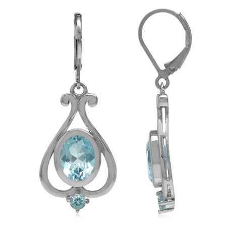 4.54ct. 9x7MM Genuine Oval Blue Topaz 925 Sterling Silver Heart Victorian Style Leverback Earrings
