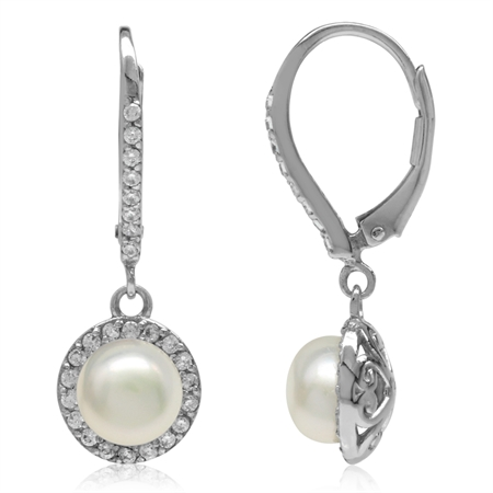 7MM Cultured Freshwater Pearl 925 Sterling Silver Heart Victorian Style Halo Leverback Earrings