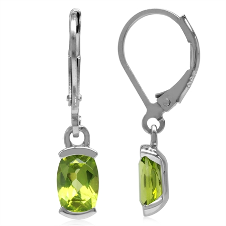 1.82ct. 7x5MM Natural Cushion Shape Peridot 925 Sterling Silver Leverback Dangle Earrings