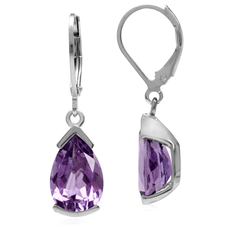 5.12ct 12x8MM Pear Natural Amethyst 925 Sterling Silver Drop Leverback Earrings