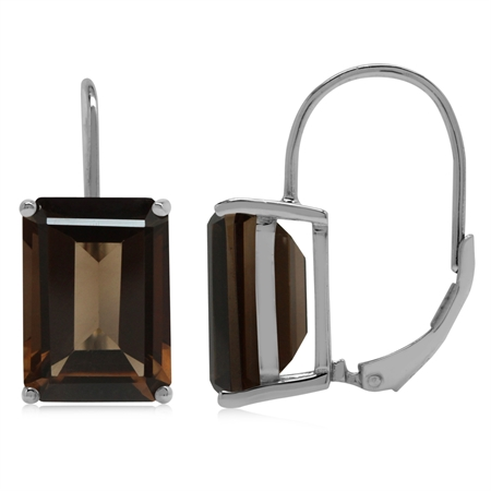 13.72ct. 14x10MM Natural Octagon Shape Smoky Quartz 925 Sterling Silver Leverback Earrings