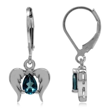 Genuine London Blue Topaz 925 Sterling Silver Angel Wings Dangle Leverback Earrings