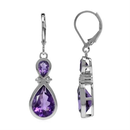 6 Ctw Genuine Purple Amethyst 925 Sterling Silver Drop Dangle Hook Earrings