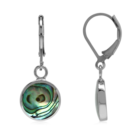 10 mm Round Abalone/Paua Shell Inlay 925 Sterling Silver Basic Leverback Dangle Earrings