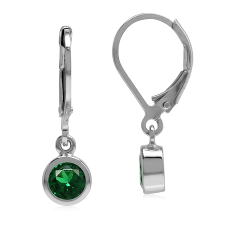 Petite 5 mm Round Nano Green Emerald 925 Sterling Silver Dangle Leverback Earrings