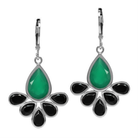 Emerald Green Agate and Black Spinel Stone 925 Sterling Silver Fan Shape Leverback Drop Earrings