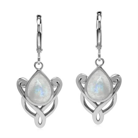 Natural 9x7 mm Rainblow Moonstone 925 Sterling Silver Celtic Knot Leverback Drop Earrings