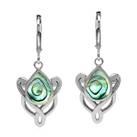 Abalone/Puau Shell Inlay 925 Sterling Silver Celtic Knot Leverback Drop Earrings