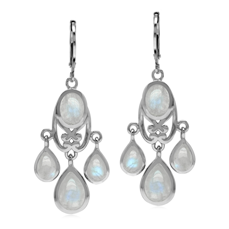Natural Rainbow Moonstone 925 Sterling Silver Chandelier Leverback Earrings