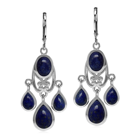 Natural Blue Lapis Lazuli Stone 925 Sterling Silver Chandelier Leverback Earrings