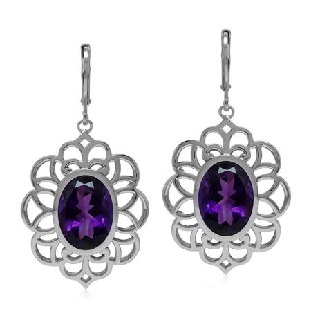Big Bold Boho 10 Ct Genuine Purple Amethyst Gem 925 Sterling Silver Dangle Leverback Earrings