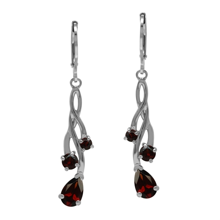 Floral Plant Vine Natural Red Garnet Gemstone 925 Sterling Silver Dangle Earrings