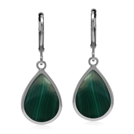 Drop Shape 14x10 mm Green Malachite 925 Sterling Silver Leverback Dangle Summer Earrings