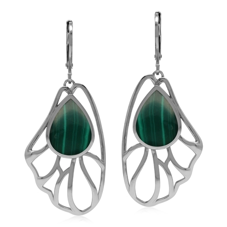 Created Green Malachite Free Form Filigree Leaf 925 Sterling Silver Leverback Earrings