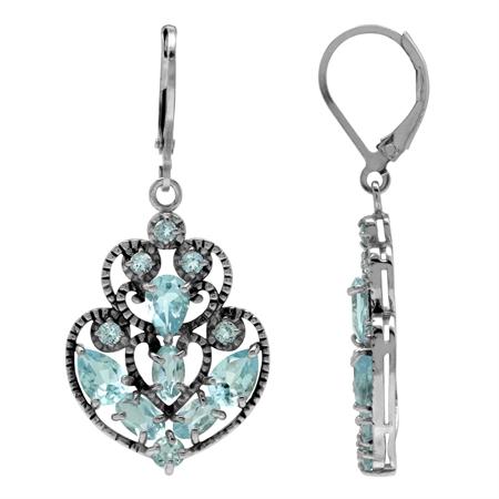 Sky Blue Topaz 925 Sterling Silver Filigree Victorian Style Leverback Earrings