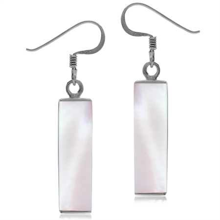 Long Pink Mother Of Pearl White Gold Plated 925 Sterling Silver Dangle Hook Earrings