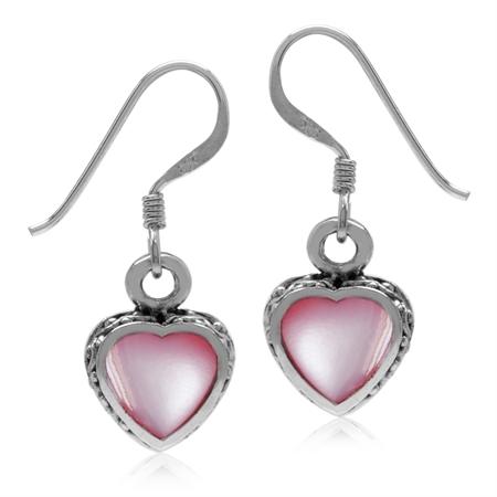 Heart Shape Pink Mother Of Pearl 925 Sterling Silver Dangle Hook Earrings