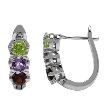 3-Stone Natural Peridot, Amethyst & Garnet 925 Sterling Silver English Huggie/Hoop Earrings